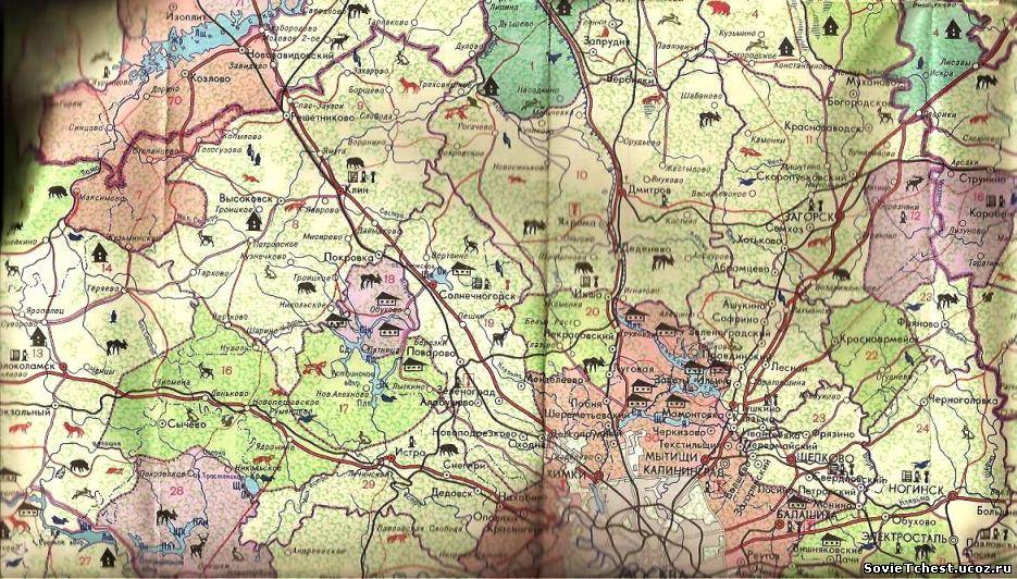 карта охотника и рыболова московской области